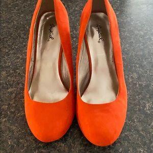 Orange velvet heels